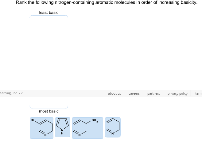 Rank the following nitrogen-containing aromatic mo