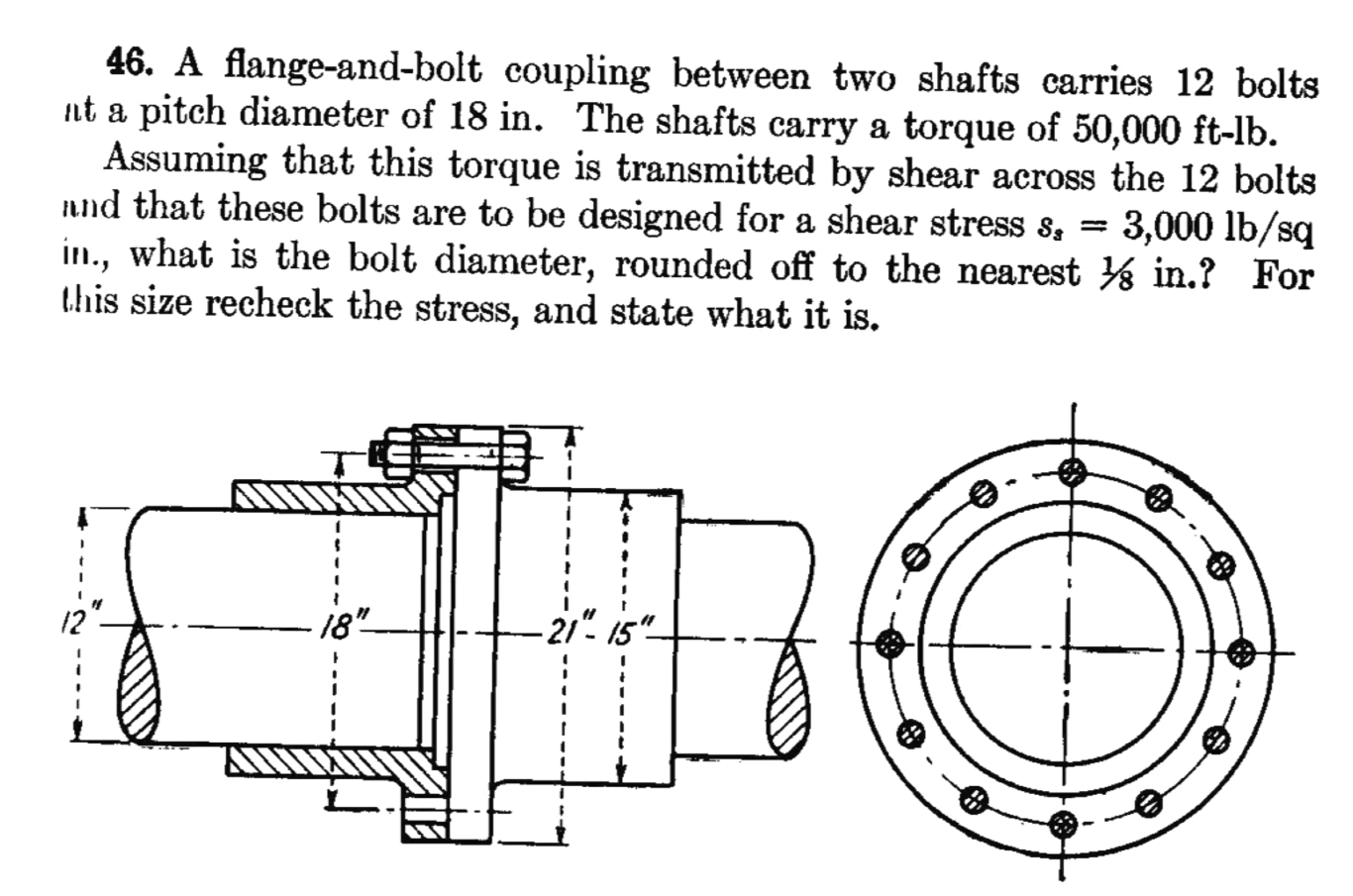 A flange-and-bolt coupling between two shafts carr