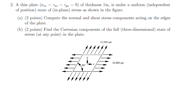 A thin plate of thickness 1in, is under a uniform