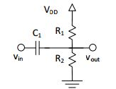 Using the circuit below with VDD=5 V, C1=1 nF, R1=