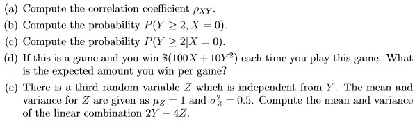Discrete random variables X and Y have the followi