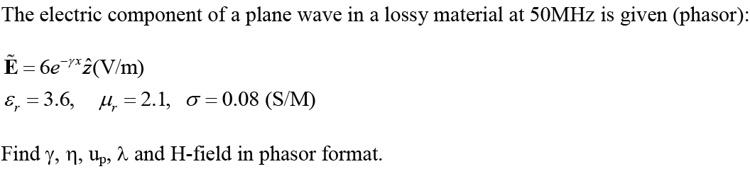 The electric component of a plane wave in a lossy