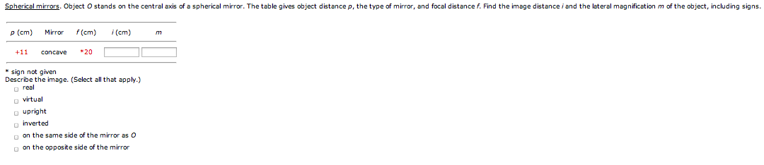 Spherical mirrors. Object O stands on the central