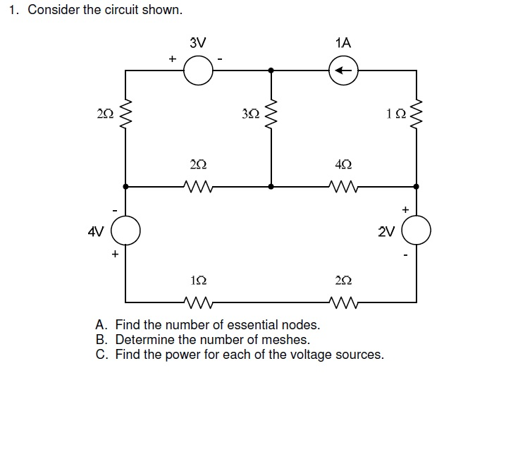 Consider the circuit shown. Find the number of es
