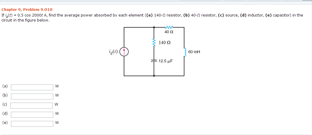 solved  if ig t    0 5 cos 2000t a  find the average power