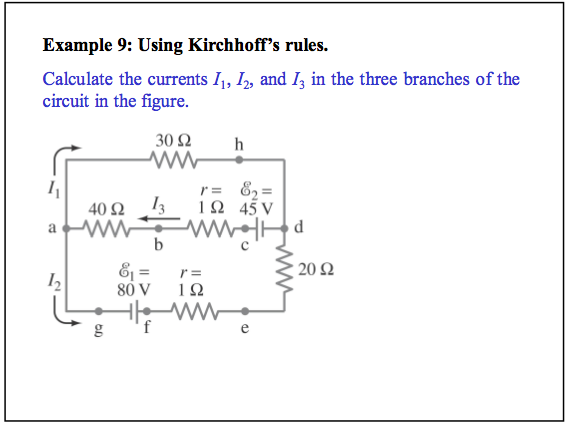 Using Kirchoff's rules. Calculate the currents I1