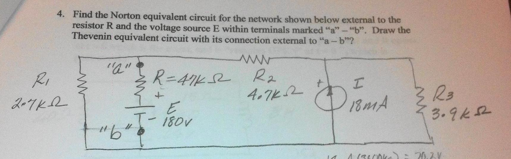 Find the Norton equivalent circuit for the network