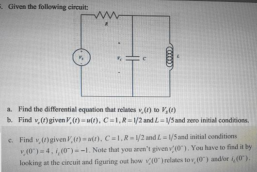 Given the following circuit: Find the differentia