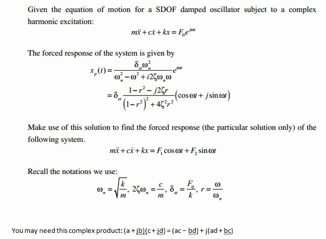 Given the equation of motion for a SDOF damped osc