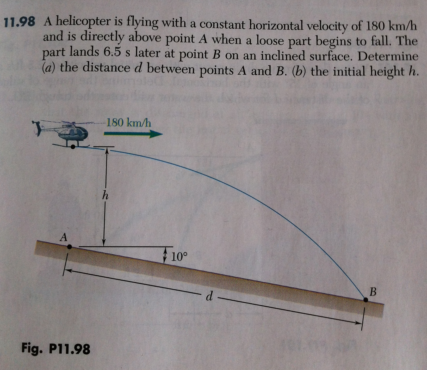 A helicopter is flying with a constant horizontal