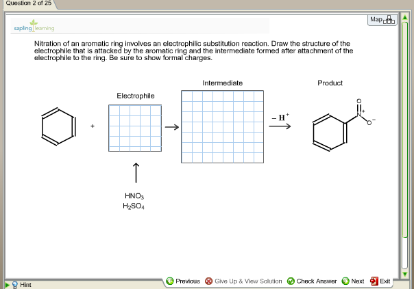 Nitration of an aromatic ring involves an electrop