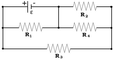 R1=2 R2=5 R3=11 R4=9 V=6V what is the current thro