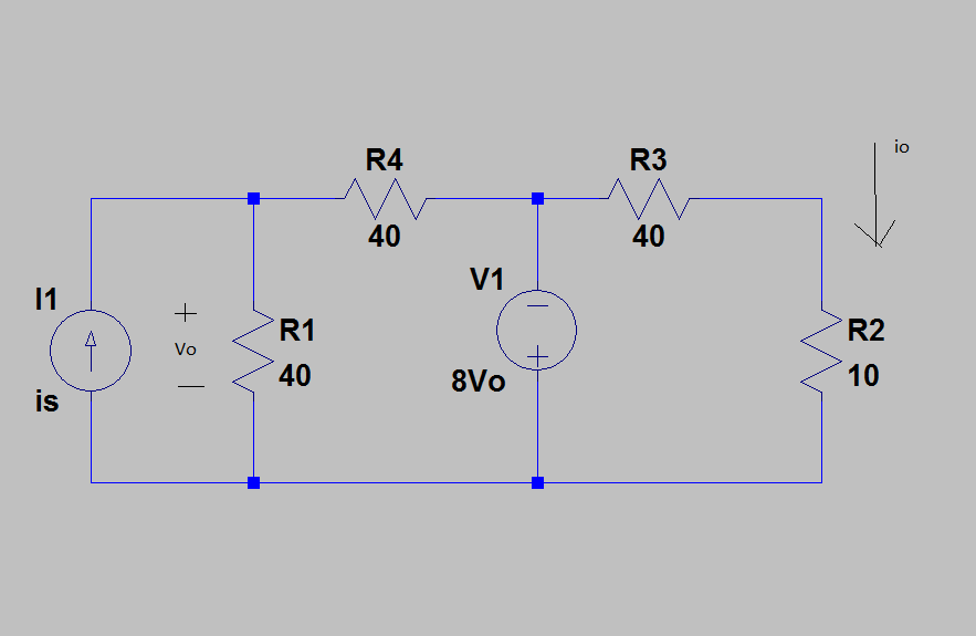 Calculate the current gain io/is in the circuit sh