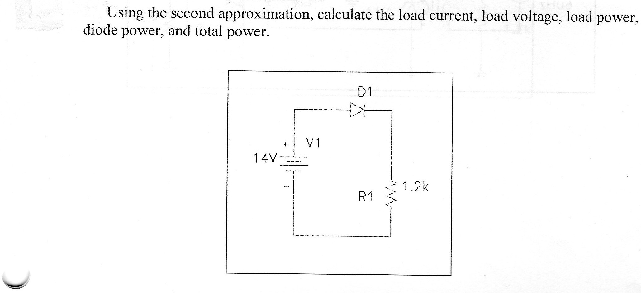 Using the second approximation, calculate the load