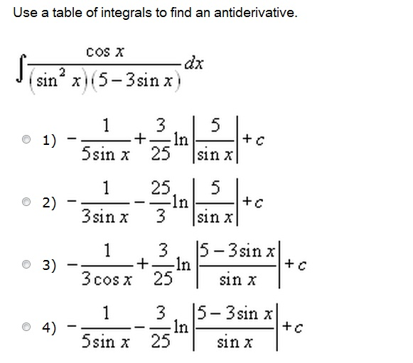Use a table of integrals to find an antiderivative for Table of derivatives
