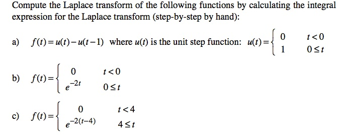 Compute the Laplace transform of the following fun