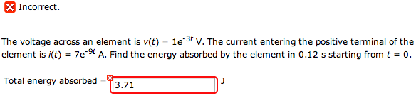 The voltage across an element is v(t) = 1e-3t V. T