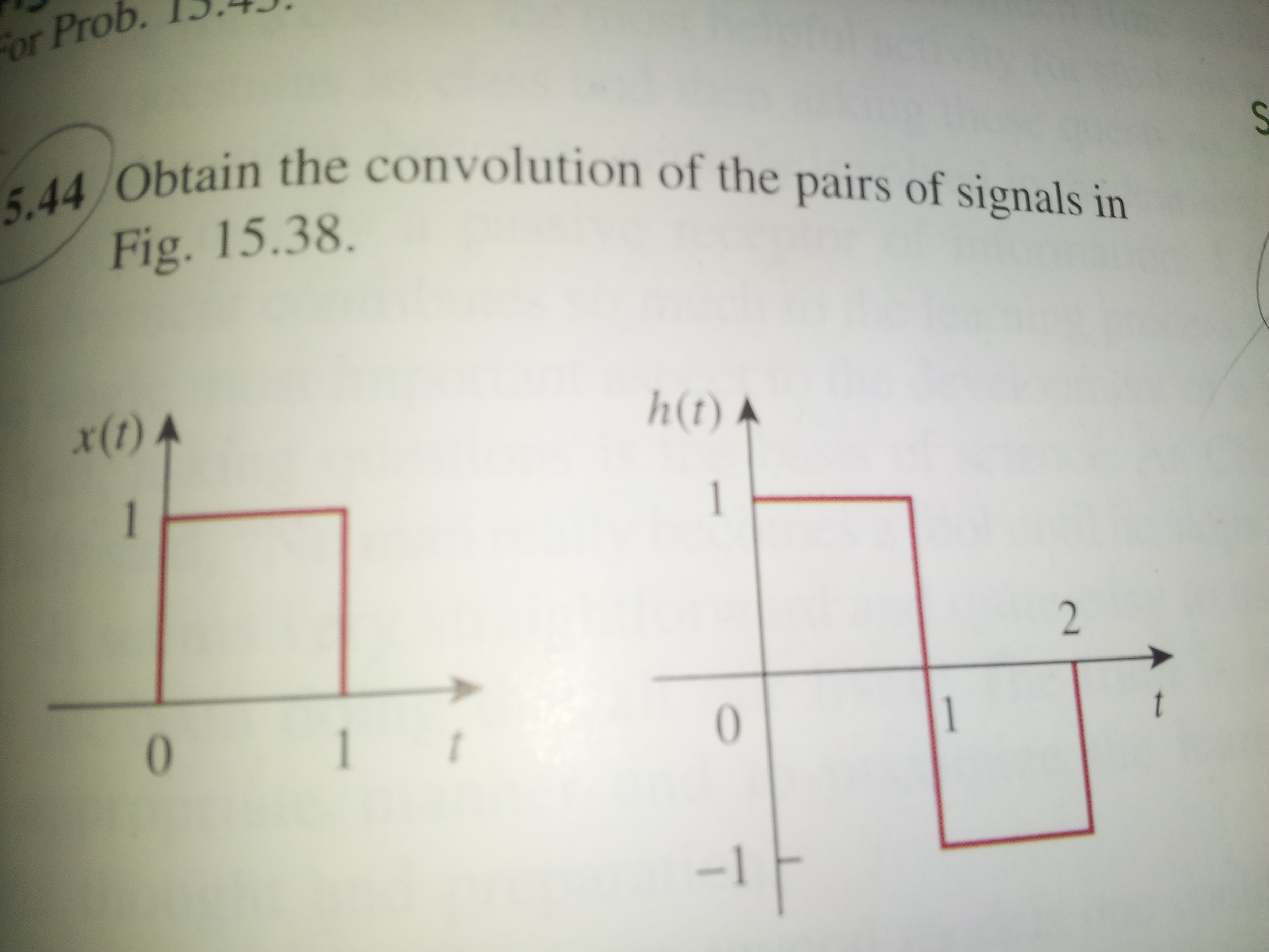 Obtain the convolution of the pairs of signals in