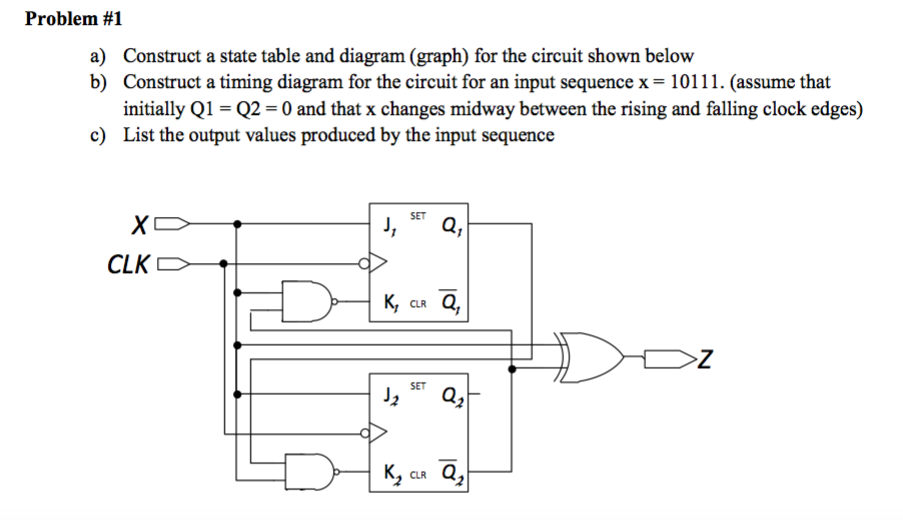 Problem 1 a construct a state table and diagram - Table circuit ...