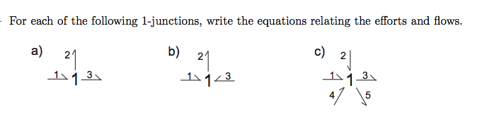 For each of the following 1-junctions, write the e