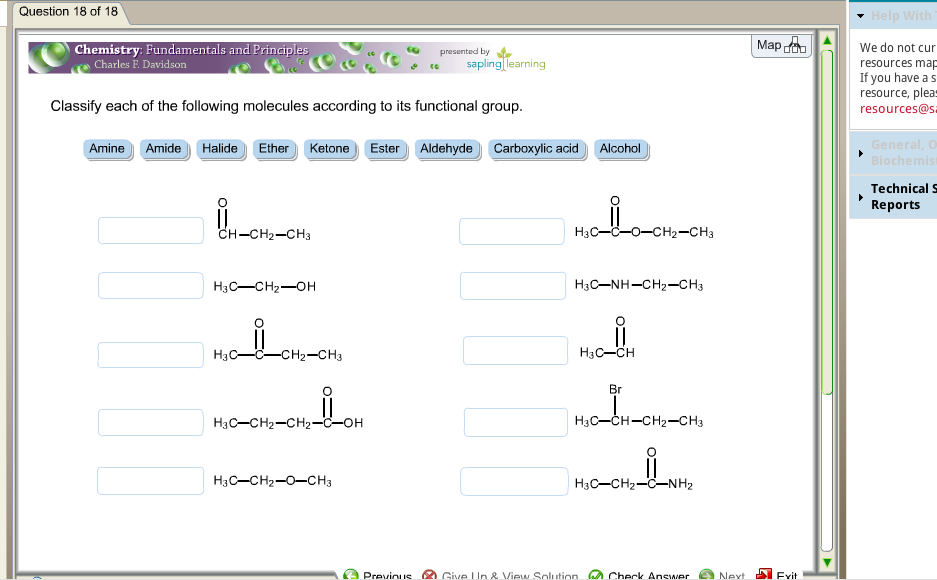 Classify each of the following molecules according