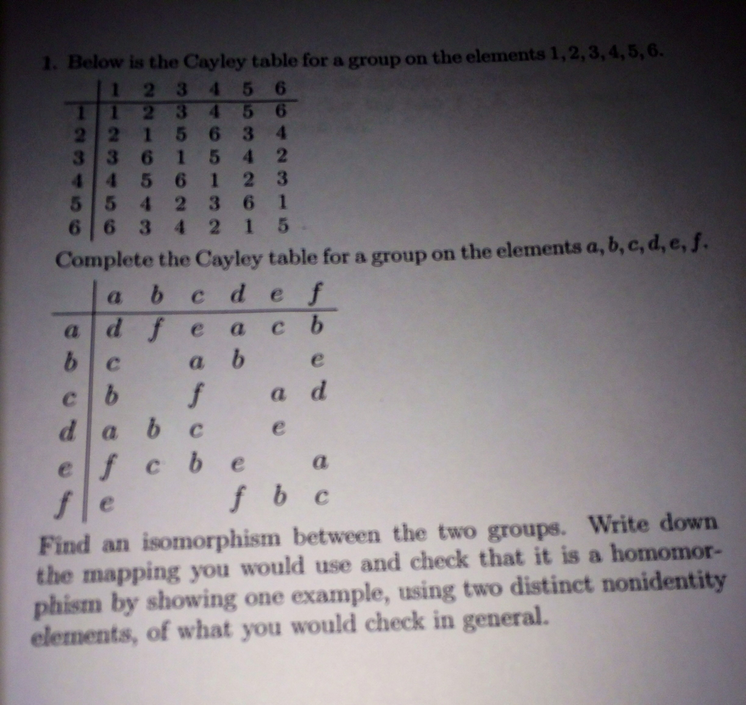 Below is tha cayley table for a group on the eleme for Table group 6 questions