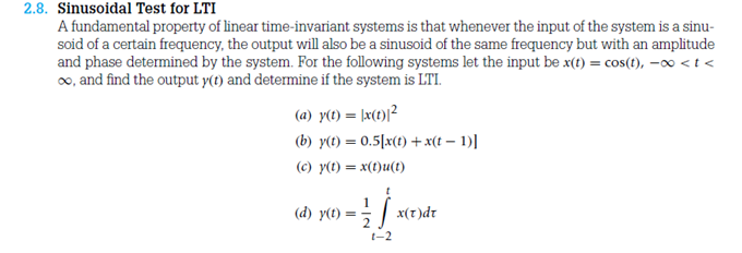 Sinusoidal Test lor LTI A fundamental property of