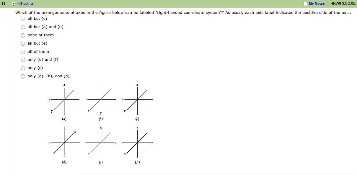 Which of the arrangements of axes in the figure be
