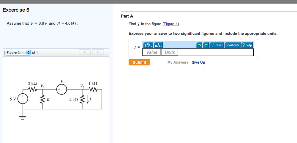 Assume that V = 6.6V and R = 4.0k ohm Find I in th