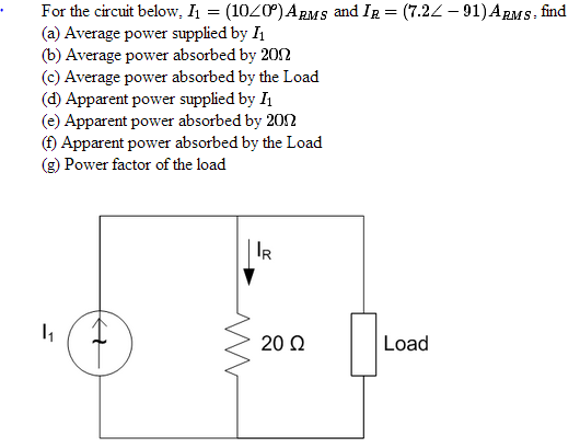For the circuit below, and find Average power s