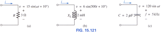 Find the current I for the elements in Fig. 15.121