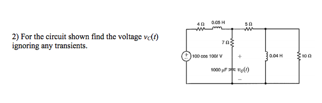 For the circuit shown find the voltage nu C(t) ign