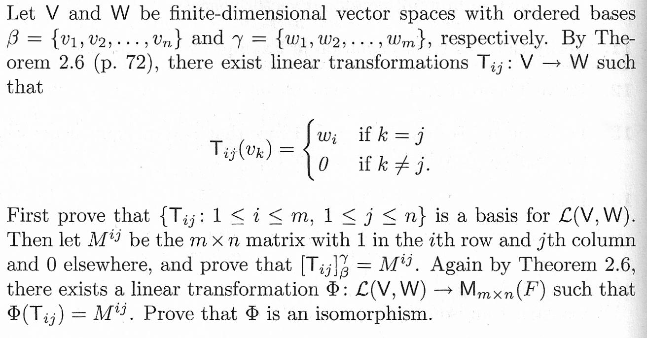 Let V and W be finite-dimensional vector spaces wi