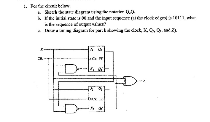 For the circuit below: Sketch the state diagram u