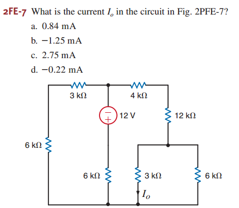 What is the current Io in the circuit in Fig. 2PFE