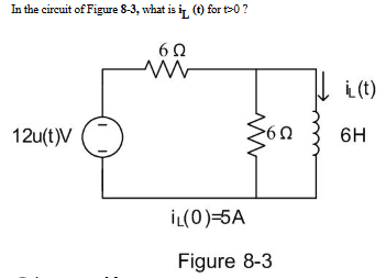 In the circuit of Figure 8-3, what is iL (t) for t