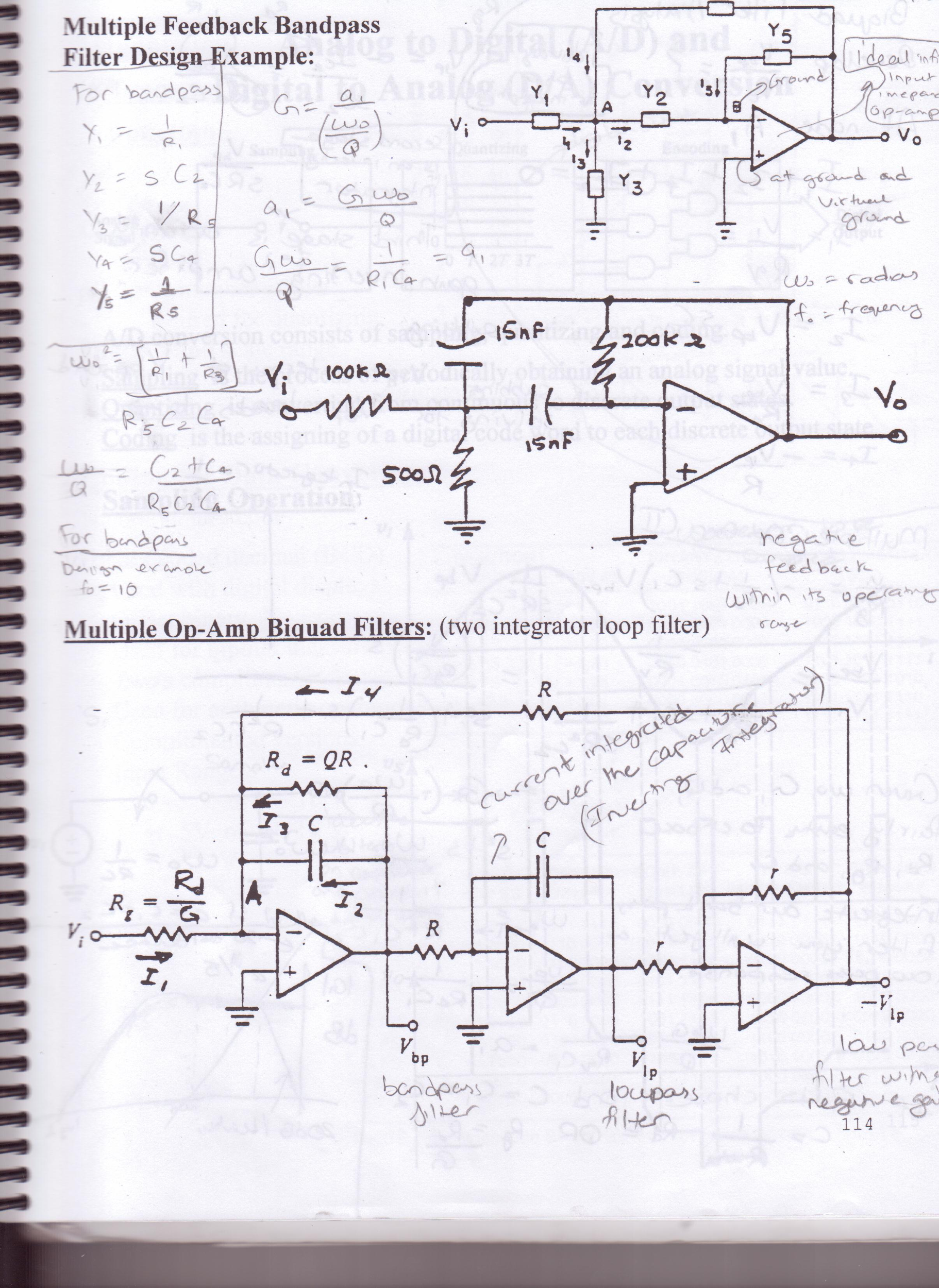 Multiple Feedback Bandpass Filter Design Example: