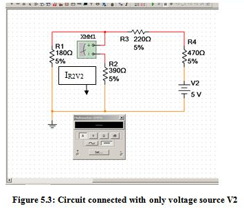 Circuit connected with only one voltage source V1