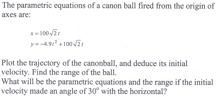 The parametric equations of a canon ball fired fro