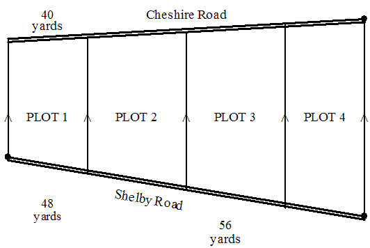 Plots of land between two roads are laid out accor