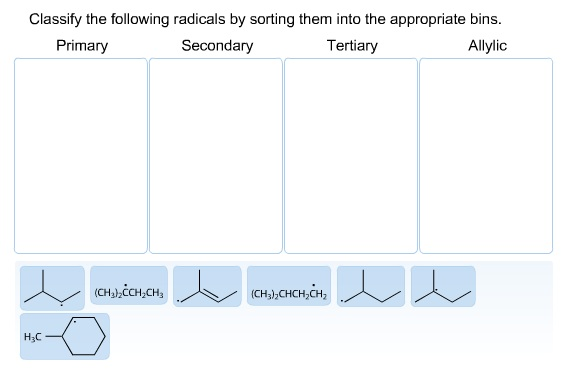 Classify the following radicals by sorting them in