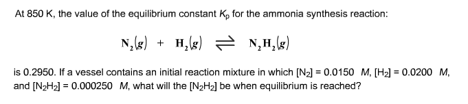 At 850 K, the value of the equilibrium constant Kp