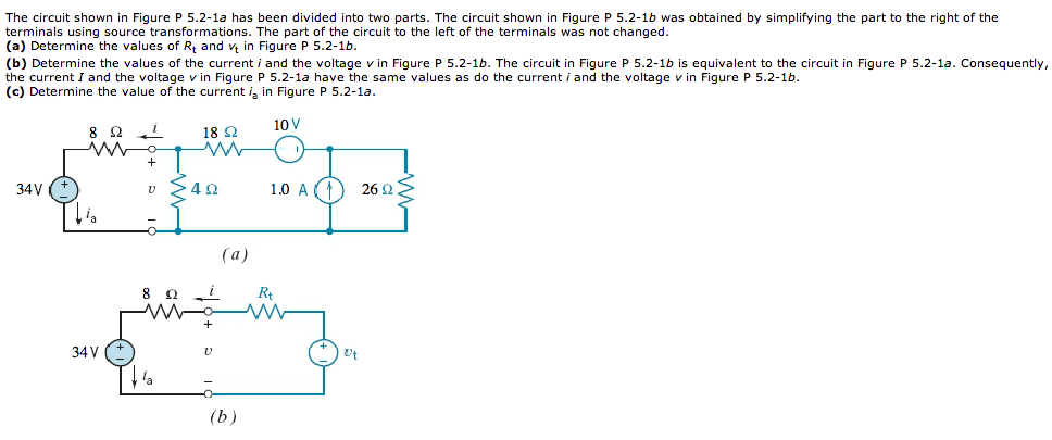The circuit shown in Figure p 5.2 1a has been divi