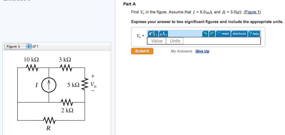 Find Vo in the figure. Assume that I = 6.0mA and R