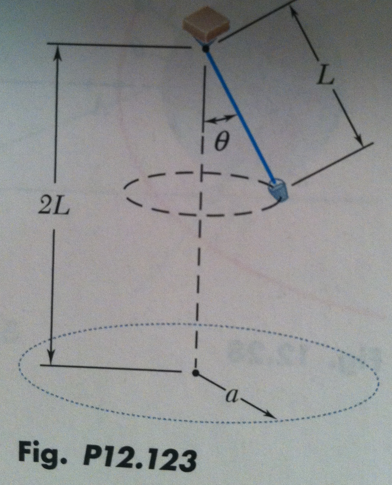 A bucket is attached to a rope of length L = 1.2 m
