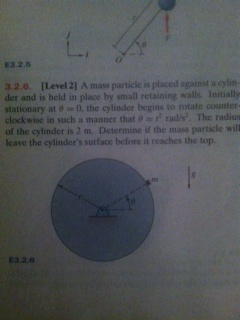 A mass particle is placed against a cylinder and i