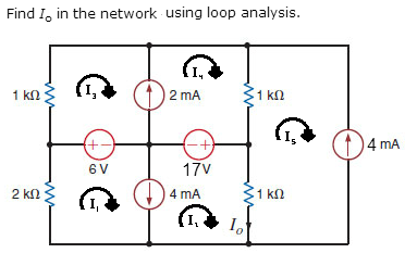 Find I0 in the network using loop analysis.