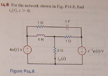 For the network shown in Fig. P14.8, find i0 (t),