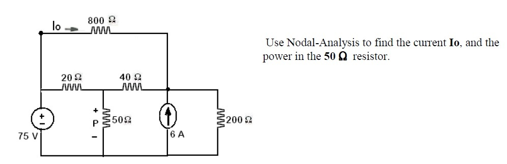 Use Nodal-Analysis to find the current Io. and the
