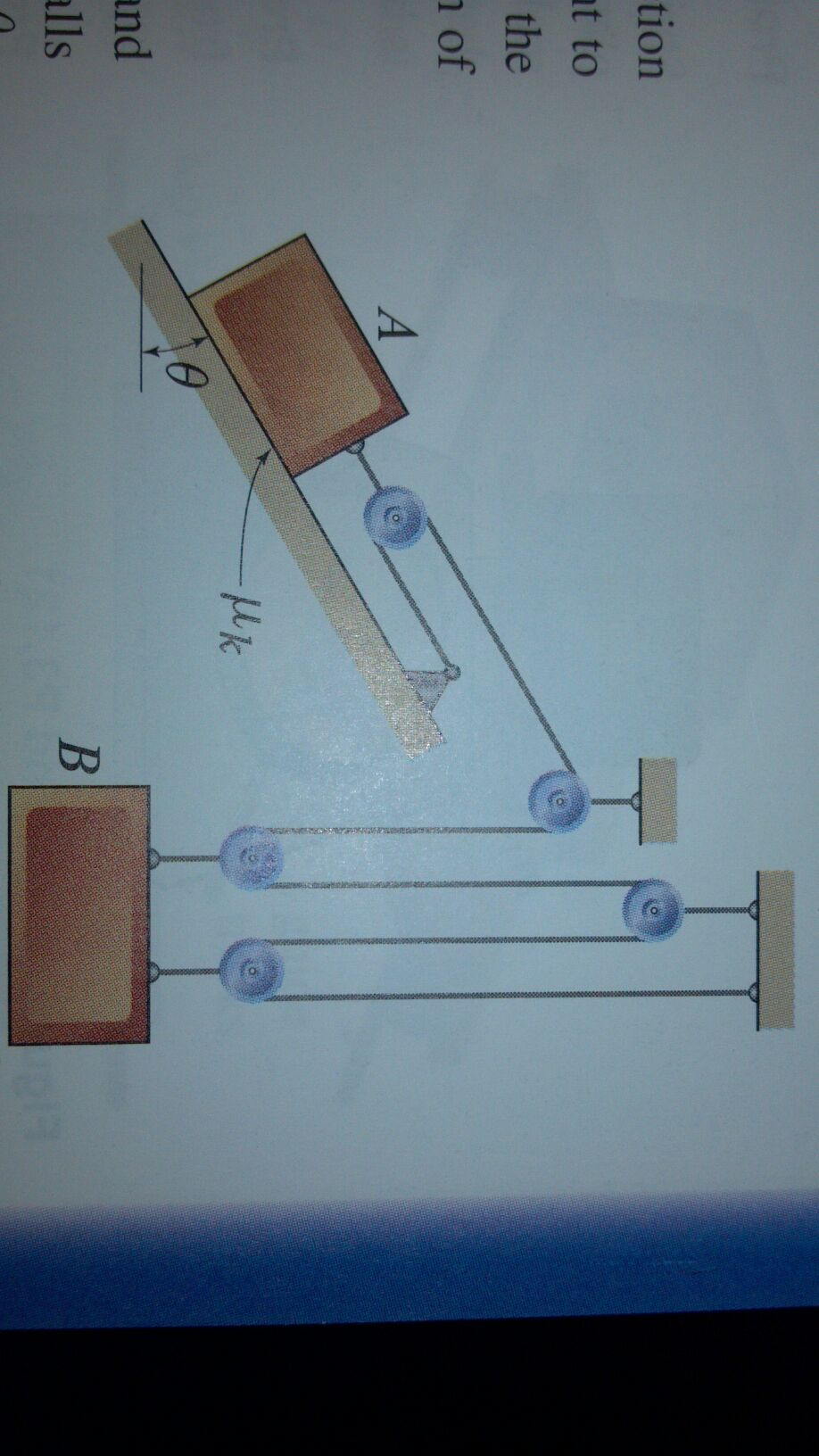 Blocks A and B, with masses Ma= 5kg and Mb= 3kg, r